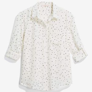 Skies are Blue Button Down Blouse w/ Tiny Stars L